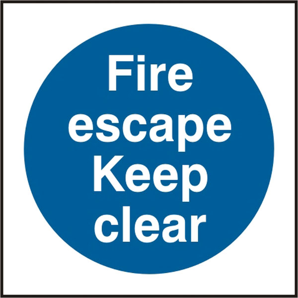 FIRE ESCAPE KEEP CLEAR SIGN - BSS11350