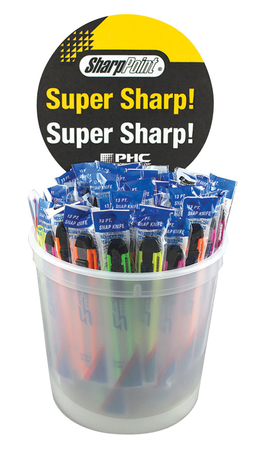 COUNTER TOP DISPLAY BUCKET C/W 75 ASSORTED SNAP OFF KNIVES - BU-BK-508