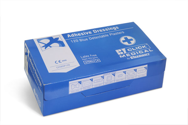 BLUE DETECTABLE PLASTERS 120 ASSORTED - CM0500