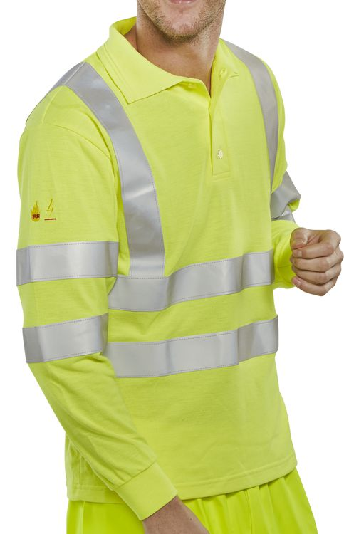 FIRE RETARDANT HI-VIS ANTI STATIC POLO LONG SLEEVED - CFRHVPSLSAS