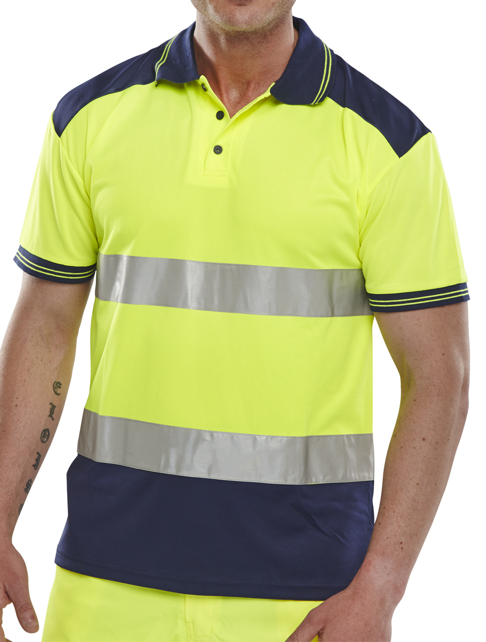 Cpkstten pk shirt two tone saturn yellow navy for Hi vis t shirt printing