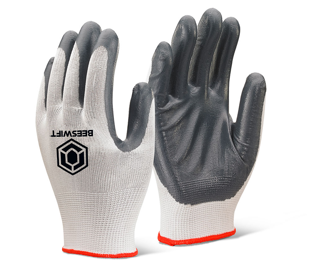 Ec7 Nitrile Palm Coated Polyester Gloves Grey Beeswift