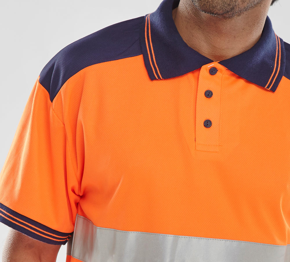 Cpkstten pk shirt two tone orange navy beeswift for Hi vis t shirt printing