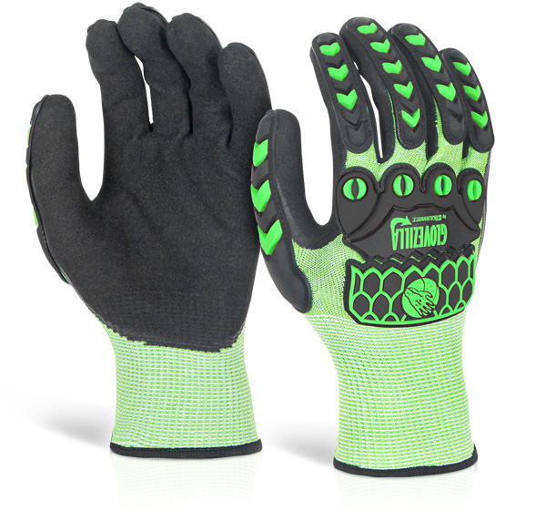 GLOVEZILLA NITRILE PALM COATED HI-VIS GLOVE - GZ02LG