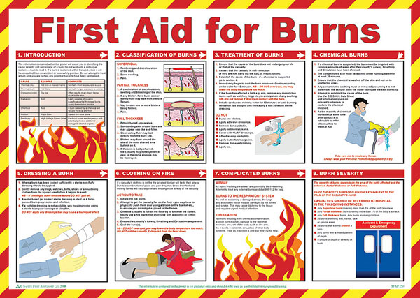 FIRST AID FOR BURNS POSTER  - BSS13229