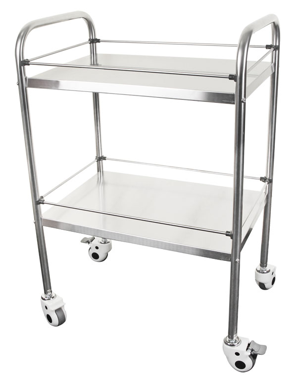 TWO TIER STAINLESS STEEL MEDICAL TROLLEY - CM1716