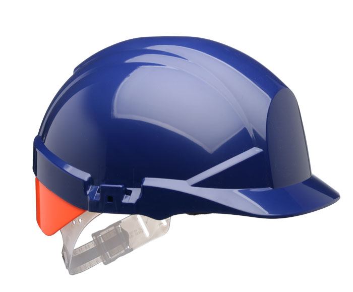 REFLEX SAFETY HELMET BLUE C/W ORANGE REAR FLASH - CNS12BHVOA