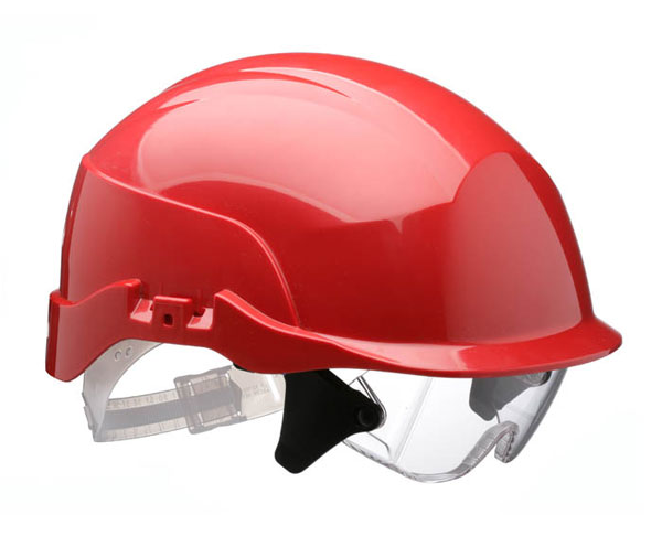 SPECTRUM SAFETY HELMET RED C/W INTEGRATED EYE PROTECTION - CNS20REA