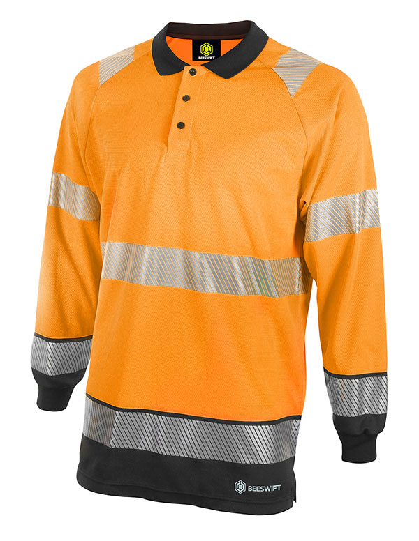 HIVIS TWO TONE POLO SHIRT LONG SLEEVE - HVTT015