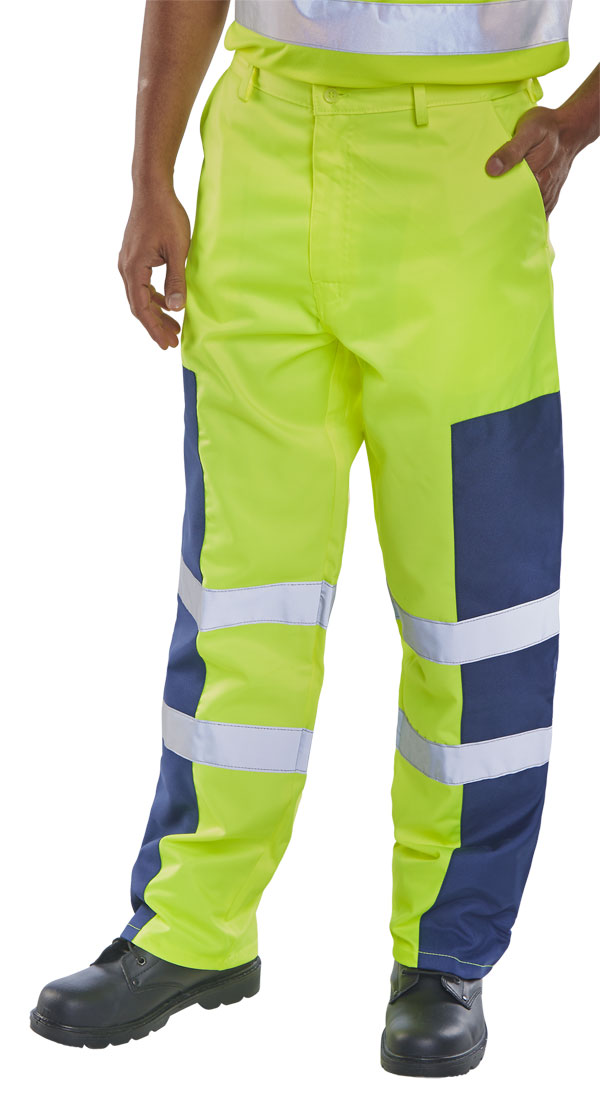 HI VIS TROUSERS WITH NYLON PATCH - PCTSYNNP