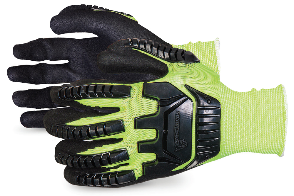 DEXTERITY® HI-VIZ ANTI-IMPACT BLACK WIDOW MICROPORE GRIP NITRILE DIPPED GLOVE - SUS13YPNVB